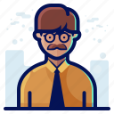 account, avatar, glasses, male, man, moustache, user