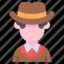 avatar, costume, cowboy, hat, human, people icon