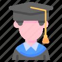 avatar, cap, congrats, degree, graduated, university icon