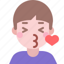 emoji, emoticon, expression, heart, kiss, love, valentine