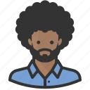 african american, afro, avatar, beard, man, persona, user icon