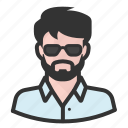 avatar, beard, hipster, man, persona, shades, user icon