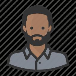avatar, avatars, beard, black man, hipster, man icon