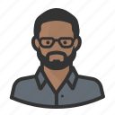 avatar, beard, black man, glasses, man, persona, user icon