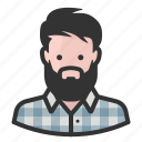 avatar, beard, flannel, hipster, persona, user icon