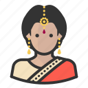 avatar, hindu, indian, persona, user, woman icon