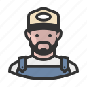 avatar, avatars, beard, farmer, man icon