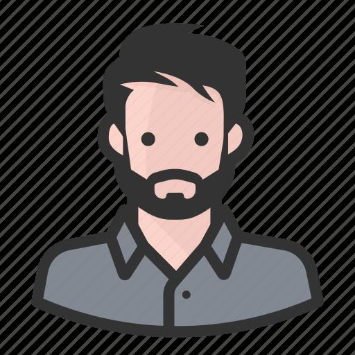 avatar, beard, hipster, man, persona, user, white icon