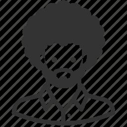 afro, avatar, beard, man, people, persona, user icon