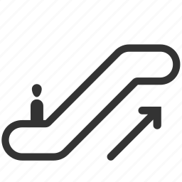 direction, escalator, moving, stair, staircase, transport, up icon