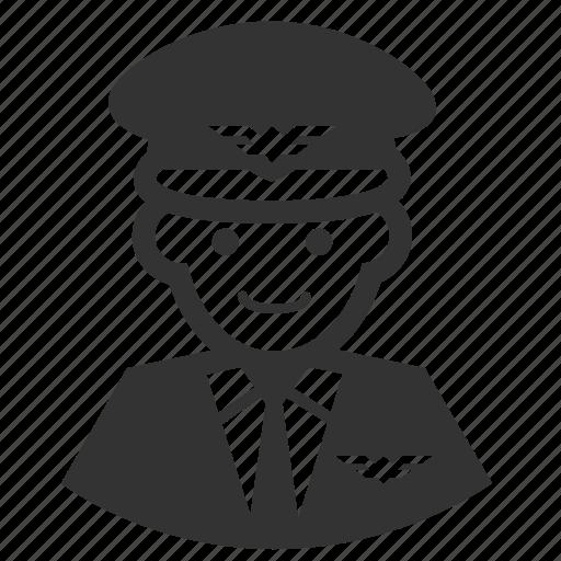 aircrew, avatar, aviator, captain, male, man, pilot icon