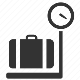 baggage allowance, baggage check, checked baggage, heavy, limitation, scale, weight icon