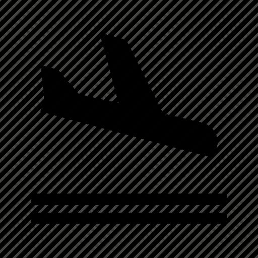 arrived, aviation, flight, land, landing icon