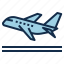 aviation, departure, off, plane, take, travel, trip icon