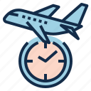 boarding, delay, depature, flight, schedule, takeoff, time icon