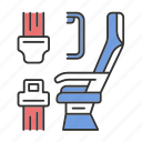 airplane, belt, plane, safe, safety, seat, seating icon