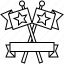 banner, competition, crossed, flags, twin