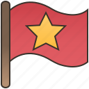 banner, flag, nation, red, star icon