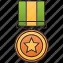 badge, golden, honorable, medal, star
