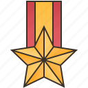 badge, golden, honor, medal, star