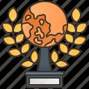achievement, golden, trophy, world, wreath icon
