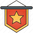 award, banner, flag, pennant, red icon