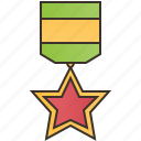 honor, medal, red, silver, star icon