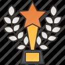 award, cup, star, trophy, wreath icon