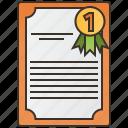 certificate, diploma, document, winner icon