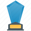 award, blue, certificate, crystal, trophy icon