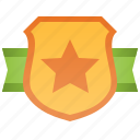 badge, banner, golden, military, shield icon