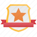 badge, banner, shield, silver, star icon