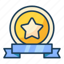 winning, label, badge, ribbon, star, award