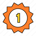 badge, first, number, one, special icon