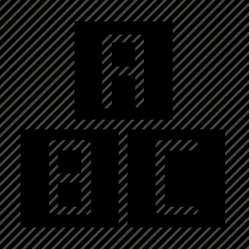 alphabet, blocks, child icon