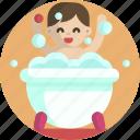 kid, bathtub, baby, bathing, soapy water, child icon