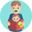 story book, kid, boy, baby, father, child icon