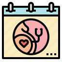 calendar, care, check, healthcare, pregnant icon