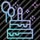 balloon, birthday, cake, party, piece icon