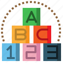 abc, and, baby, block, child, cube, kid icon