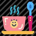 baby, food, plate, spoon