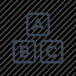 abc, baby, block, child, wooden icon