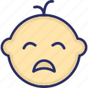 baby tantrum, crying baby, unhappy baby, sad baby, baby weeping icon