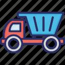 dump truck, transport, truck, truck toy, vehicle truck icon