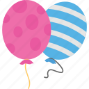balloons, blue balloon, celebration, decoration, pink balloon icon