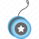 accessory, blue yoyo, toy, yoyo, yoyo with string icon