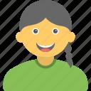 smiling girl, happy child, cheerful girl, student, joyful kid icon