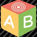abc blocks, letters block, 3d block, block toy, educational toy icon