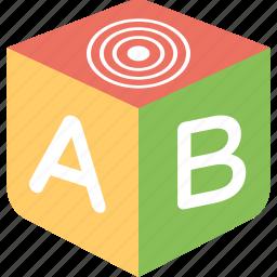 3d block, abc blocks, block toy, educational toy, letters block icon