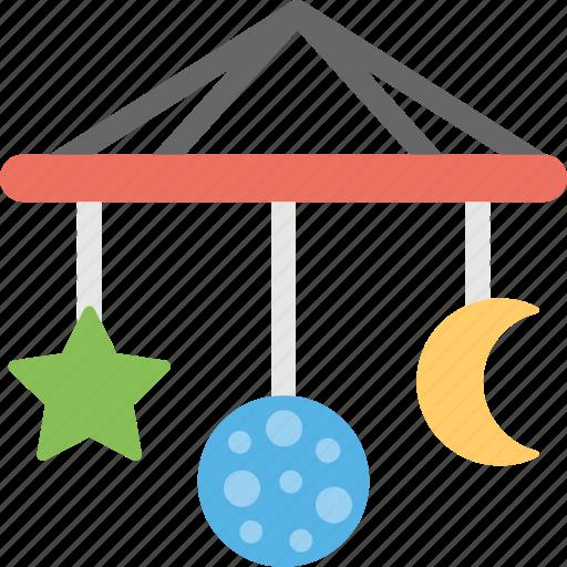 baby mobile, crib mobile, hanging, musical mobile, musical toy icon